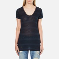 Maison Scotch Women's Delicate Striped V Neck T Shirt Blue