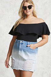 Forever 21 Plus Size Dip Dye Mini Skirt Light Denim White