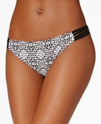 Hula Honey Printed Strappy Hipster Bikini Bottoms Women's Swimsuit Black White