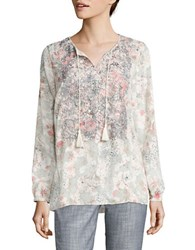 T Tahari Cierra Floral Print Long Sleeve Top Multi