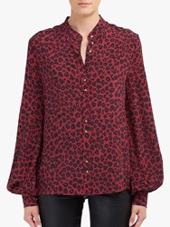 Lily And Lionel Harlowe Leopard Print Blouse Winter Berry