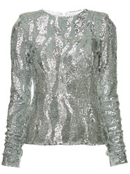 Rachel Gilbert Dinah Sequined Top Silver