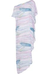 Mara Hoffman Waves Asymmetric Printed Crepon Maxi Dress Pastel Pink