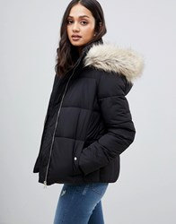 Miss Selfridge Padded Jacket With Faux Fur Trim In Black