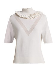 Barrie Flying Lace Ruffled Cashmere Sweater White