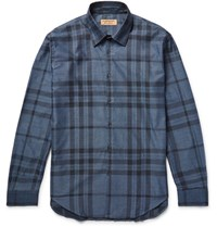 Burberry Slim Fit Checked Cotton Twill Shirt Blue