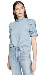 Moon River Ruched Sleeve Top Slate Blue