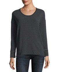 Majestic Paris For Neiman Marcus Soft Touch Long Sleeve Striped Scoop Neck Tee Anthracite Noir