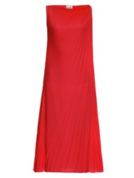 Raey Pleated Knot Shoulder Dress Red