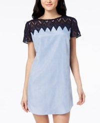 City Triangles Juniors' Striped Crochet Trimmed Shift Dress Blue White