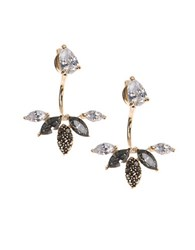 Judith Jack Im All Ears 10K Yellow Gold Sterling Silver And Cubic Zirconia Front Back Earrings