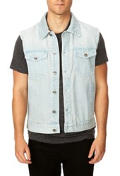 Forever 21 Quilted Denim Vest Light Denim