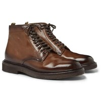 Officine Creative Stanford Burnished Leather Boot Brown