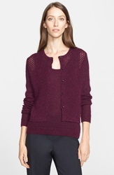 Nordstrom Signature And Caroline Issa 'Paris' Cashmere Mohair And Silk Button Cardigan Purple Potent