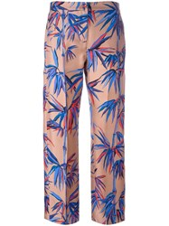Emilio Pucci Leaves Print Cropped Trousers Nude Neutrals