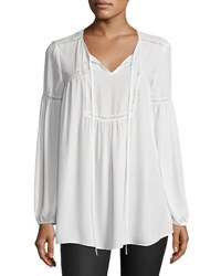Max Studio Lace Trimmed Peasant Blouse Ivory