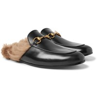 f2c9c8de6 Gucci Princetown Horsebit Shearling Lined Leather Backless Loafers Black