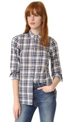 Madewell Slim Boyshirt In Plaid Coastal Blue