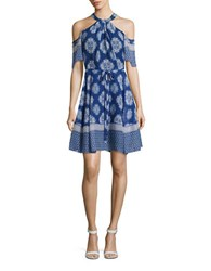 Shoshanna Printed Silk Cold Shoulder Dress Navy