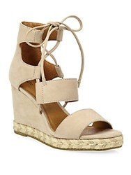 Frye Roberta Ghillie Nubuck Leather Wedge Sandals Black
