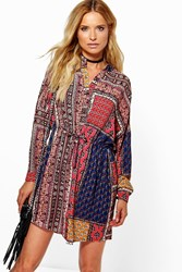 Boohoo Scarf Paisley Print Shirt Dress Red