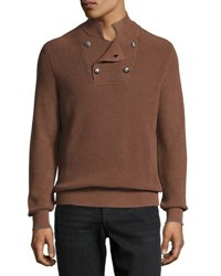 Brunello Cucinelli English Ribbed Turtleneck Sweater Tobacco Gray
