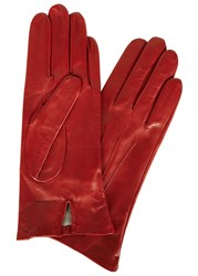 Dents Red Silk Lined Leather Gloves