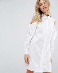 Asos Shirt Dress With Cold Shoulder And Tie Detail White