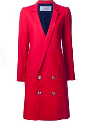Julien David Low Double Breasted Buttons Coat Red