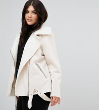 Alice And You Aviator Jacket In Faux Shearling Cream