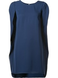 Halston Heritage Cape Short Dress Blue