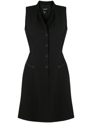 Dkny Buttoned Flared Dress Black
