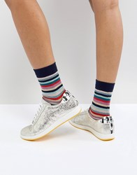 Paul Smith Ps By Metallic Star Trainer Metallic Silver