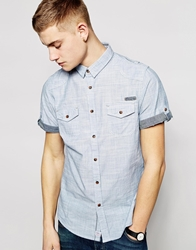 Brave Soul Bravesoul Short Sleeve Chambray Shirt Blue