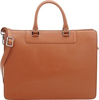 Barneys New York Saffiano Structured Briefcase Brown