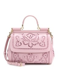 Dolce And Gabbana Sicily Medium Embroidered Leather Tote Pink