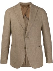 Dell'oglio Single Breasted Cashmere Blazer Neutrals