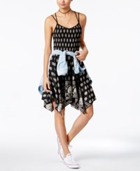 American Rag Handkerchief Hem Fit And Flare Dress Only At Macy's Black Print