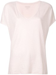Majestic Filatures Plunge Neck T Shirt Pink And Purple
