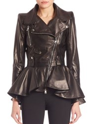 Alexander Mcqueen Peplum Hem Leather Moto Jacket Black