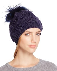 Echo Beanie With Asiatic Raccoon Fur Pom Pom 100 Bloomingdale's Exclusive Navy