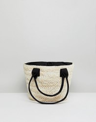 Asos Straw Shopper With Contrast Handles Pink