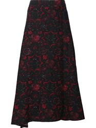 Y's Abstract Print Full Skirt Black