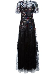 Valentino Floral Embroidered Evening Dress Black