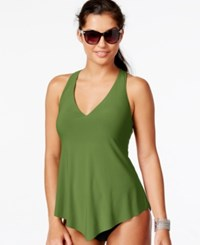 Magicsuit Asymmetrical Racerback Tankini Top Women's Swimsuit Olive
