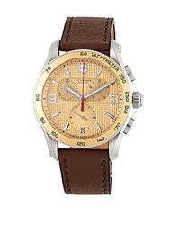 Victorinox Stainless Steel And Leather Strap Chronograph Watch Champagne
