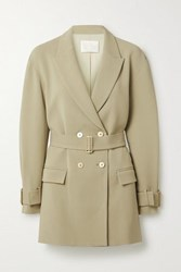 Dion Lee Oversized Double Breasted Belted Crepe Blazer Light Green