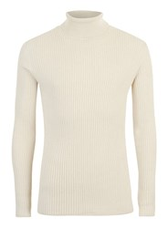 Topman Stone Ribbed Textured Roll Neck Jumper