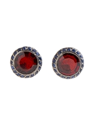 Rosa Maria Garnet Stud Earrings Red