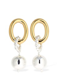 Isabel Lennse Chunky Hoop And Loop Earrings W Pearl Gold